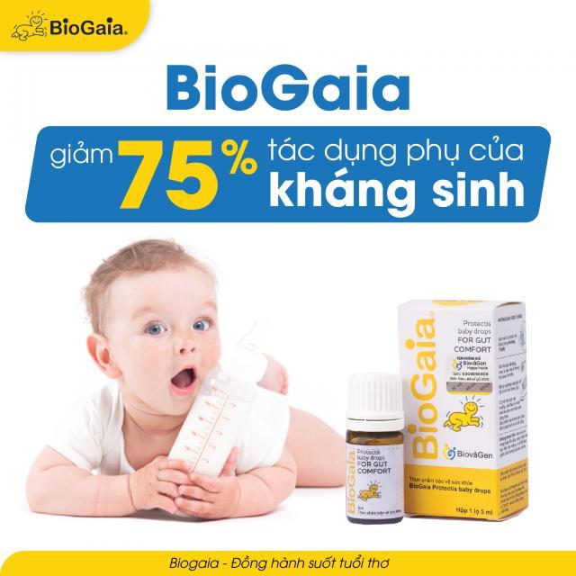BioGaia giảm 75% tác dụng phụ do kháng sinh